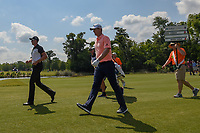 Henrik Stenson (SWE) and Justin Rose (GBR) head down 18 during Round 2 of the Zurich Classic of New Orl, TPC Louisiana, Avondale, Louisiana, USA. 4/27/2018.<br /> Picture: Golffile | Ken Murray<br /> <br /> <br /> All photo usage must carry mandatory copyright credit (&copy; Golffile | Ken Murray)