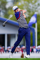 Jordan Spieth (USA) watches his tee shot on 12 during the practice round at the Ryder Cup, Hazeltine National Golf Club, Chaska, Minnesota, USA.  9/29/2016<br /> Picture: Golffile | Ken Murray<br /> <br /> <br /> All photo usage must carry mandatory copyright credit (&copy; Golffile | Ken Murray)
