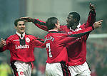 Chris Bart Williams of Nottingham Forest (R) celebrates his goal  - Premier League - Nottingham Forest v Chelsea - City Ground - Nottingham - England - 11th January 1997 - Picture Simon Bellis/Sportimage