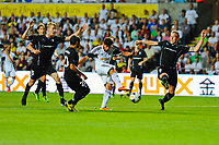 Thursday  01  August  2013<br /> <br /> Pictured:Alejandro Pozuelo scores the fourth Swansea City goal <br /> Re:UEFA Europa League Third Qualifying Round -1st Leg Swansea City vs Malmo FF