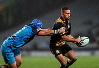 Aaron Cruden of the Chiefs looks to pass during the Super Rugby Match between the Blues and the Chiefs at Eden Park in Auckland, New Zealand on Friday, 26 May 2017. Photo: Simon Watts / www.lintottphoto.co.nz