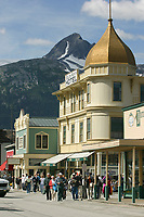 Skagway Alaska, Golden North Hotel, in historic gold rush town of Skagway, Alaska, end of Alaska's inside passage Lynn Canal.
