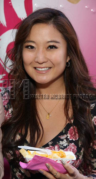 Ashley Park from 'Mean Girls' cast visits the 'Mean Girls' themed Food Truck in celebration of 'Mean Girls' Box Office Opening Day on Broadway in Times Square on October 3, 2017 in New York City.