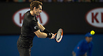 Andy Murray (GBR) defeats Grigor Dimitrov (BUL) 6-4, 6-7, 6-3, 7-5  at the Australian Open being played at Melbourne Park in Melbourne, Australia on January 25, 2015