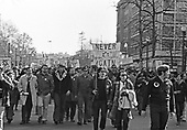 "Protestors from Jewish groups from around the country march on 16th Street, NW in Washington, DC near the Embassy of the USSR to protest the treatment of Soviet Jews in Russia on March 21, 1971.  More than 680 people were arrested after police attempted to clear the streets.  After the sit-in members of the Jewish Defense League (JDL) moved to the Elllipse for speches and told the demonstrators ""President Nixon will have to change his policy if enough Jews show themselves willing to sacrifice.""<br /> Credit: Len Owens / CNP"