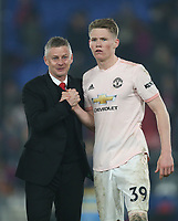 Manchester United managerOle Gunnar Solskjaer and Scott McTominay at the end of the game<br /> <br /> Photographer Rob Newell/CameraSport<br /> <br /> The Premier League - Wednesday 27th February 2019  - Crystal Palace v Manchester United - Selhurst Park - London<br /> <br /> World Copyright © 2019 CameraSport. All rights reserved. 43 Linden Ave. Countesthorpe. Leicester. England. LE8 5PG - Tel: +44 (0) 116 277 4147 - admin@camerasport.com - www.camerasport.com