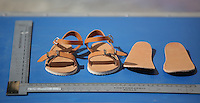 FAO JANET TOMLINSON, DAILY MAIL PICTURE DESK<br /> Pictured: A copy of a pair of sandals similar to those worn by Ben Needham in Kos, Greece. Saturday 01 October 2016<br /> Re: Police teams led by South Yorkshire Police, searching for missing toddler Ben Needham on the Greek island of Kos have moved to a new area in the field they are searching.<br /> Ben, from Sheffield, was 21 months old when he disappeared on 24 July 1991 during a family holiday.<br /> Digging has begun at a new site after a fresh line of inquiry suggested he could have been crushed by a digger.