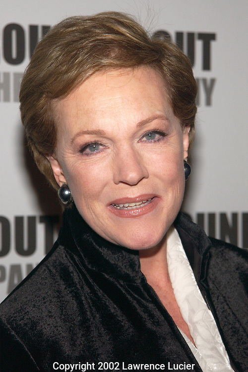 Actress Julie Andrews arrives at the Roundabout Theater Company's 2002 Spring Gala April 22, 2002 in New York City.  Actor Christopher Plummer received the inaugural Jason Robards Award for contributions to the theater..