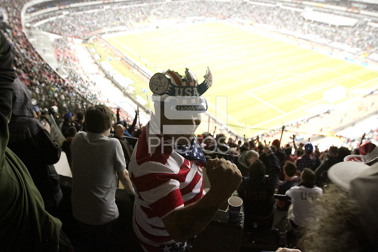 USA fan Rodas Omarlin cheers during the USA vs. Mexico World Cup Qualifier at Azteca stadium in Mexico City, Mexico on March 26, 2013