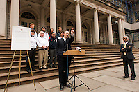 Deputy mayor for government affairs and communications Howard Wolfson addresses the media at a press conference honoring the centennial of U. S. Soccer at City Hall in New York, NY, on April 05, 2013.