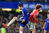 5th November 2017, Stamford Bridge, London, England; EPL Premier League football, Chelsea versus Manchester United; Alvaro Morata of Chelsea battles with Marouane Fellaini of Manchester Utd