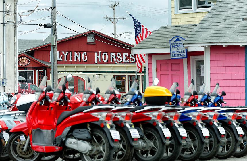 Moped rentals, Oak Bluffs, Martha's Vineyard, Massachusetts, USA