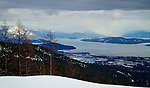 Idaho, North, Bonner County, Sandpoint. View of Lake Pend Oreille,Sandpoint and the Cabinet Mountains from Schweitzer Mountain.