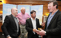 NO REPRO FEE. Pádraig Harrington and Bóthar's Golf With Stars. L-R Dennis Hickey, Conor O Brien from Cork, Charlie Swan, Pádraig Harrington and Malcom O Kelly are pictured at the K Club for Bóthar's Golf With Stars.  Sporting stars from all disciplines took to the greens of the K Club yesterday, Friday, October 22nd to play a round of golf with members of the general public who won places through Bóthar's Golf With Stars. The winners received their prizes from Pádraig Harrington in a ceremony yesterday evening. Proceeds from the raffle will go to towards supporting Bóthar's projects in Pakistan. For further information phone 1850 82 99 99 or log onto bothar.org. Picture James Horan/Collins Photos