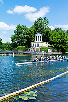 "Henley on Thames, United Kingdom, 22nd June 2018, Friday,   ""Henley Women's Regatta"",  view, Championship *= entry Drexel University USA, pass the Temple {folly] on Temple Island,  Henley Reach, Thames Valley, River Thames, England, © Peter SPURRIER"