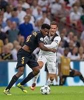 Vincent Janssen of Tottenham Hotspur battles Jemerson of Monaco during the UEFA Champions League Group stage match between Tottenham Hotspur and Monaco at White Hart Lane, London, England on 14 September 2016. Photo by Andy Rowland.