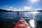 Central Coast Outdoors Tour Guide Craig Stone leads Jasmine Hemery and Brad Smith on a half day tour that involves kayaking the bay and then hiking in secluded dunes in Morro Bay, California December 22, 2014.