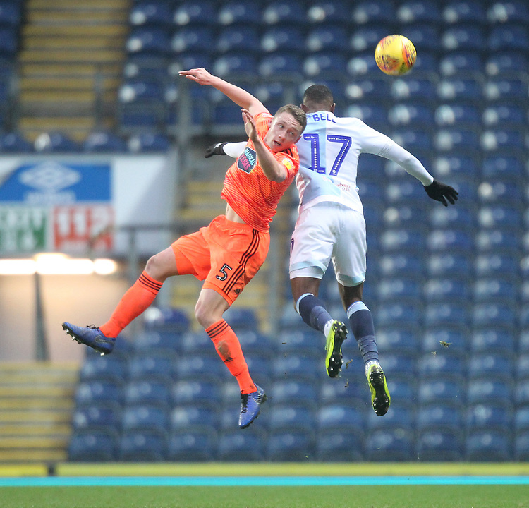Blackburn Rovers Amari'i Bell jumps with Ipswich Town's Matthew Pennington <br /> <br /> Photographer Mick Walker/CameraSport<br /> <br /> The EFL Sky Bet Championship - Blackburn Rovers v Ipswich Town - Saturday 19 January 2019 - Ewood Park - Blackburn<br /> <br /> World Copyright &copy; 2019 CameraSport. All rights reserved. 43 Linden Ave. Countesthorpe. Leicester. England. LE8 5PG - Tel: +44 (0) 116 277 4147 - admin@camerasport.com - www.camerasport.com