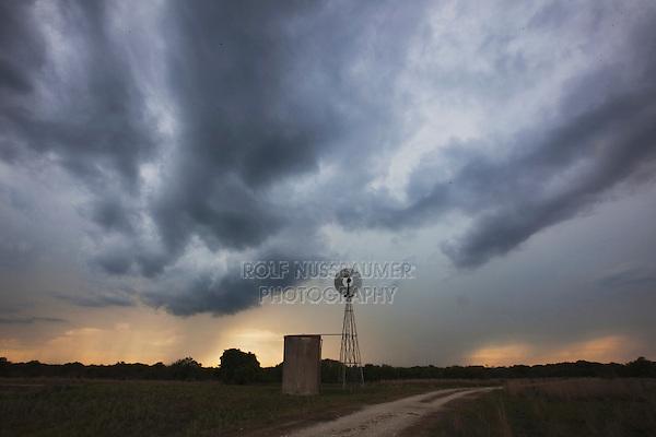 Wind mill at sunset, Sinton, Corpus Christi, Coastal Bend, Texas, USA