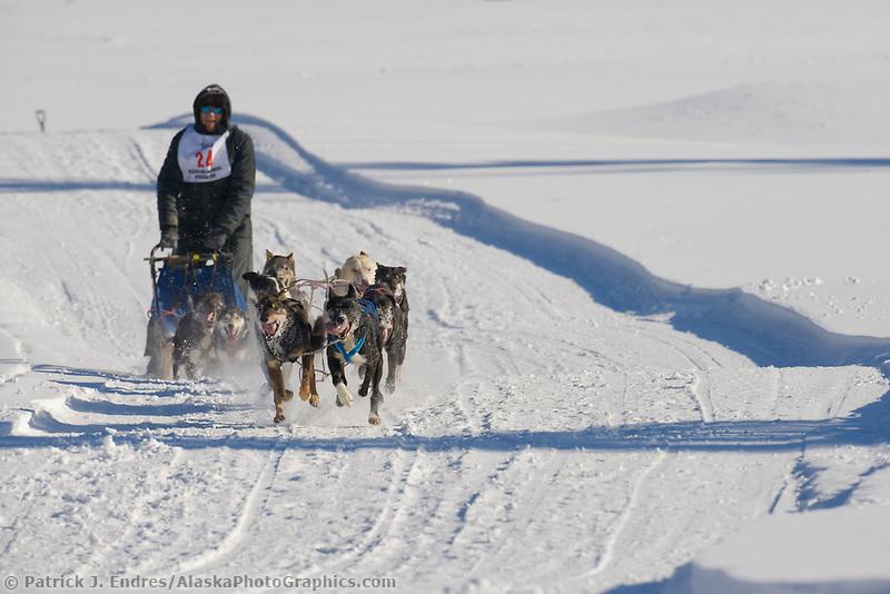 Musher Gary Markley, 2007 Open North American Championship sled dog race (the world's premier sled dog sprint race) is held annually in Fairbanks, Alaska.