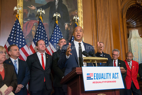 Washington DC, May 2, 2017,USA: Senator Cory Booker, D-NJ and other Members of the House and Senate hold a press conference to re-introduce the Equality Act which guarantees protection for Lesbian, Gay,Bi-sexual and Transgender(LGBT) people throughout the United States.  Photo by Patsy Lynch/MediaPunch