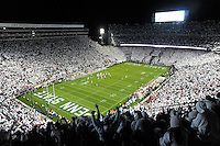 22 October 2016:  Penn State fans in the upper level cheer during the10th ever whole stadium white out. The Penn State Nittany Lions upset the #2 ranked Ohio State Buckeyes 24-21 at Beaver Stadium in State College, PA. (Photo by Randy Litzinger/Icon Sportswire)