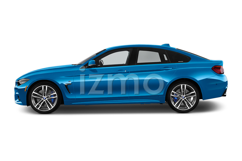 Car driver side profile view of a 2018 BMW 4 Series Gran Coupe 440i M Sport 5 Door Hatchback