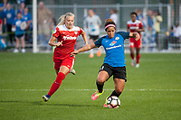 Kansas City, MO - Saturday May 27, 2017: Line Sigvardsen-Jensen, Desiree Scott during a regular season National Women's Soccer League (NWSL) match between FC Kansas City and the Washington Spirit at Children's Mercy Victory Field.