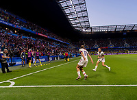 LE HAVRE,  - JUNE 20: Tobin Heath #17 celebrates her goal with Kelley O'Hara #5 during a game between Sweden and USWNT at Stade Oceane on June 20, 2019 in Le Havre, France.