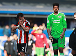 George Baldock of Sheffield Utd and Jamal Blackman of Sheffield Utd dejected during the championship match at St Andrews Stadium, Birmingham. Picture date 21st April 2018. Picture credit should read: Simon Bellis/Sportimage
