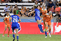 Houston, TX - Wednesday June 28, 2017: Amber Brooks heads the ball over Morgan Andrews during a regular season National Women's Soccer League (NWSL) match between the Houston Dash and the Boston Breakers at BBVA Compass Stadium.