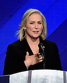 United States Senator Kirsten Gillibrand (Democrat of New York) makes remarks during a presentation by the Democratic Women of the US Senate on the fourth session of the 2016 Democratic National Convention at the Wells Fargo Center in Philadelphia, Pennsylvania on Thursday, July 28, 2016.<br /> Credit: Ron Sachs / CNP<br /> (RESTRICTION: NO New York or New Jersey Newspapers or newspapers within a 75 mile radius of New York City)