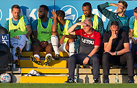 Swansea City Manager Paul Clement (right) & Gylfi Sigurosson (left)  of Swansea City as the 1st half is played out during the 2017/18 Pre Season Friendly match between Barnet and Swansea City at The Hive, London, England on 12 July 2017. Photo by Andy Rowland.