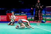 17th March 2018, Arena Birmingham, Birmingham, England; Yonex All England Open Badminton Championships; Yuta Watanabe (JPN) and Arisa Higashino (JPN) celebrate winning their semi-final match against Zhang Nan (CHN) and Li Yinhui (CHN)