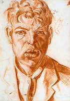 BNPS.co.uk (01202 558833)<br /> Pic: GSpencerEstate/LissLlewellyn<br /> <br /> Portrait of Gilbert Spencer.<br /> <br /> Never-before-seen paintings depicting the humourous side of the Home Guard that were censored for being too offensive have come to light nearly 80 years later.<br /> <br /> The light-hearted works were produced by the artist Gilbert Spencer more than 25 years before Dad's Army appeared on TV to huge acclaim. <br /> <br /> But Spencer's witty take on life in the Home Guard wasn't quite so well received during the darkest days of the Second World War.<br /> <br /> Spencer was too old to enlist in the army and so joined the Home Guard. In wanting to do his bit he produced 14 paintings based on his amusing observations of the citizen militia that were aimed at cheering up the nation.