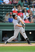 First baseman John Riley (38) of the Augusta GreenJackets bats in a game against the Greenville Drive on Sunday, April 12, 2015, at Fluor Field at the West End in Greenville, South Carolina. Augusta won, 2-1. (Tom Priddy/Four Seam Images)