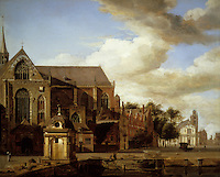 Jan Van Der Heyden:  Dutch Townscape. Oil on panel. Norton Simon Art Foundation.  Reference only.