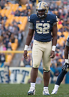 Pitt defensive lineman Shakir Soto. The North Carolina Tar Heels defeated the Pitt Panthers 34-27 at Heinz Field, Pittsburgh Pennsylvania on November 16, 2013.
