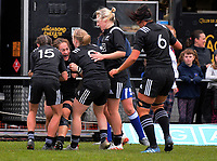 Fiao'o Faamuausili scores during the 2017 International Women's Rugby Series rugby match between the NZ Black Ferns and Australia Wallaroos at Rugby Park in Christchurch, New Zealand on Tuesday, 13 June 2017. Photo: Dave Lintott / lintottphoto.co.nz