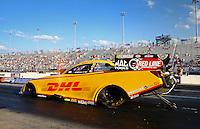 Sep 13, 2013; Charlotte, NC, USA; NHRA funny car driver Del Worsham during qualifying for the Carolina Nationals at zMax Dragway. Mandatory Credit: Mark J. Rebilas-