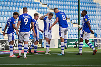 Sammie Szmodics of Colchester United celebrates the opening goal with Harry Pell of Colchester United during Colchester United vs Crawley Town, Sky Bet EFL League 2 Football at the JobServe Community Stadium on 13th October 2018