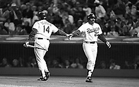 Mike Scioscia and Kirk Gibson of the Los Angeles Dodgers during a 1989 season game at Dodger  Stadium in Los Angeles,California.(Larry Goren/Four Seam Images)