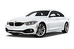 Stock pictures of low aggressive front three quarter view of a 2019 BMW 4 Series 430i Gran Coupe 5 Door Hatchback
