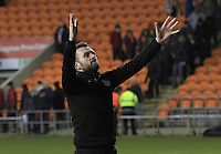 Luton Town manager celebrates his sides win in front of the travelling fans after the Sky Bet League 2 match between Blackpool and Luton Town at Bloomfield Road, Blackpool, England on 17 December 2016. Photo by Liam Smith.