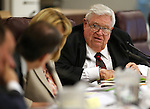 Nevada Economic Forum member Marvin Leavitt talks during a meeting at the Legislative Building in Carson City, Nev., on Friday, May 1, 2015. <br /> Photo by Cathleen Allison