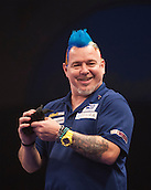 01.01.2014.  London, England.  William Hill PDC World Darts Championship.  Quarter Final Round.  Peter Wright (5) [SCO] arrives on the stage for his game with Gary Anderson (4) [SCO].