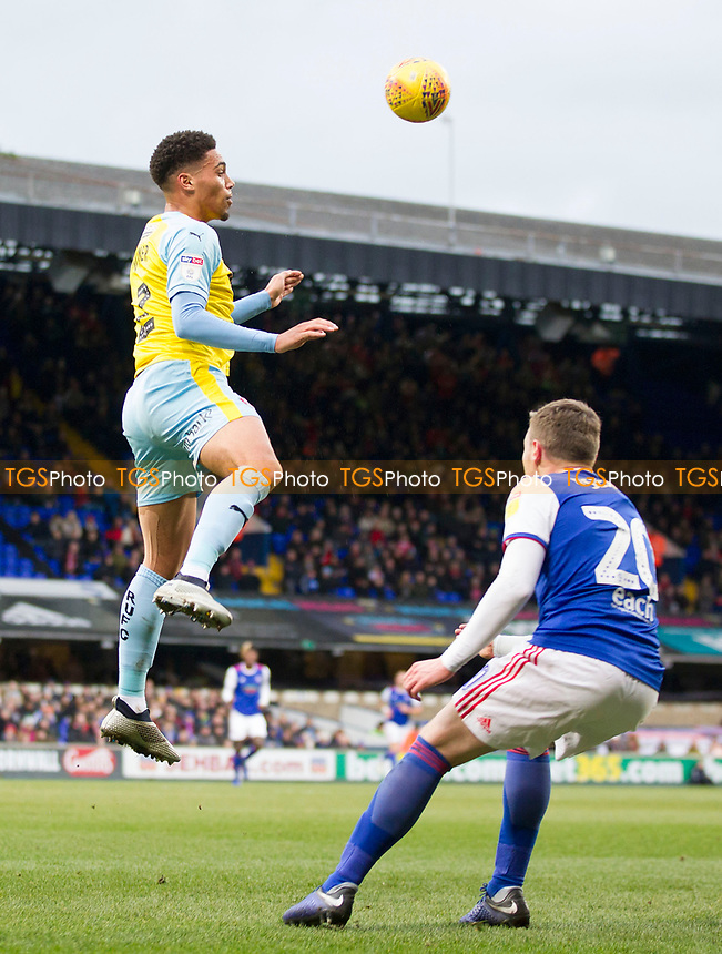 Zak Vyner of Rotherham United heads clear from Freddie Sears of Ipswich Town during Ipswich Town vs Rotherham United, Sky Bet EFL Championship Football at Portman Road on 12th January 2019