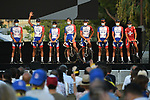 Groupama-FDJ on stage at the team presentation before the Tour de France 2020, Nice, France. 27th August 2020.<br /> Picture: ASO/Alex Broadway | Cyclefile<br /> All photos usage must carry mandatory copyright credit (© Cyclefile | ASO/Alex Broadway)