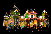 Illuminated fairground decorated with lights on the road between Agra and Delhi.<br /> (Photo by Matt Considine - Images of Asia Collection)