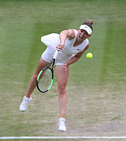 Simona Halep (ROU) during her match against Shuai Zhang (CHN) in their Ladies' Singles Quarter-Finals match<br /> <br /> Photographer Rob Newell/CameraSport<br /> <br /> Wimbledon Lawn Tennis Championships - Day 8 - Tuesday 9th July 2019 -  All England Lawn Tennis and Croquet Club - Wimbledon - London - England<br /> <br /> World Copyright © 2019 CameraSport. All rights reserved. 43 Linden Ave. Countesthorpe. Leicester. England. LE8 5PG - Tel: +44 (0) 116 277 4147 - admin@camerasport.com - www.camerasport.com